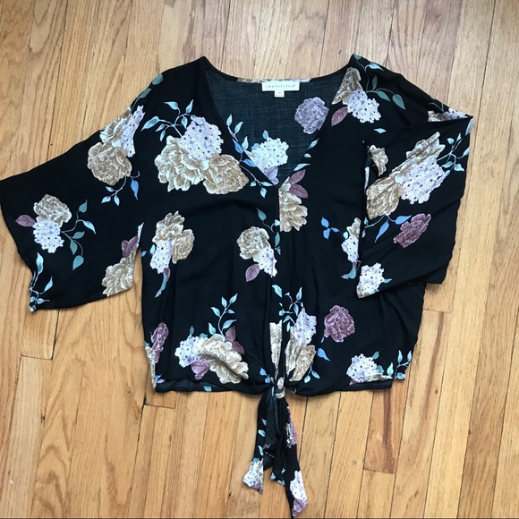 Love Stitch Tops - Floral patterned front tie top